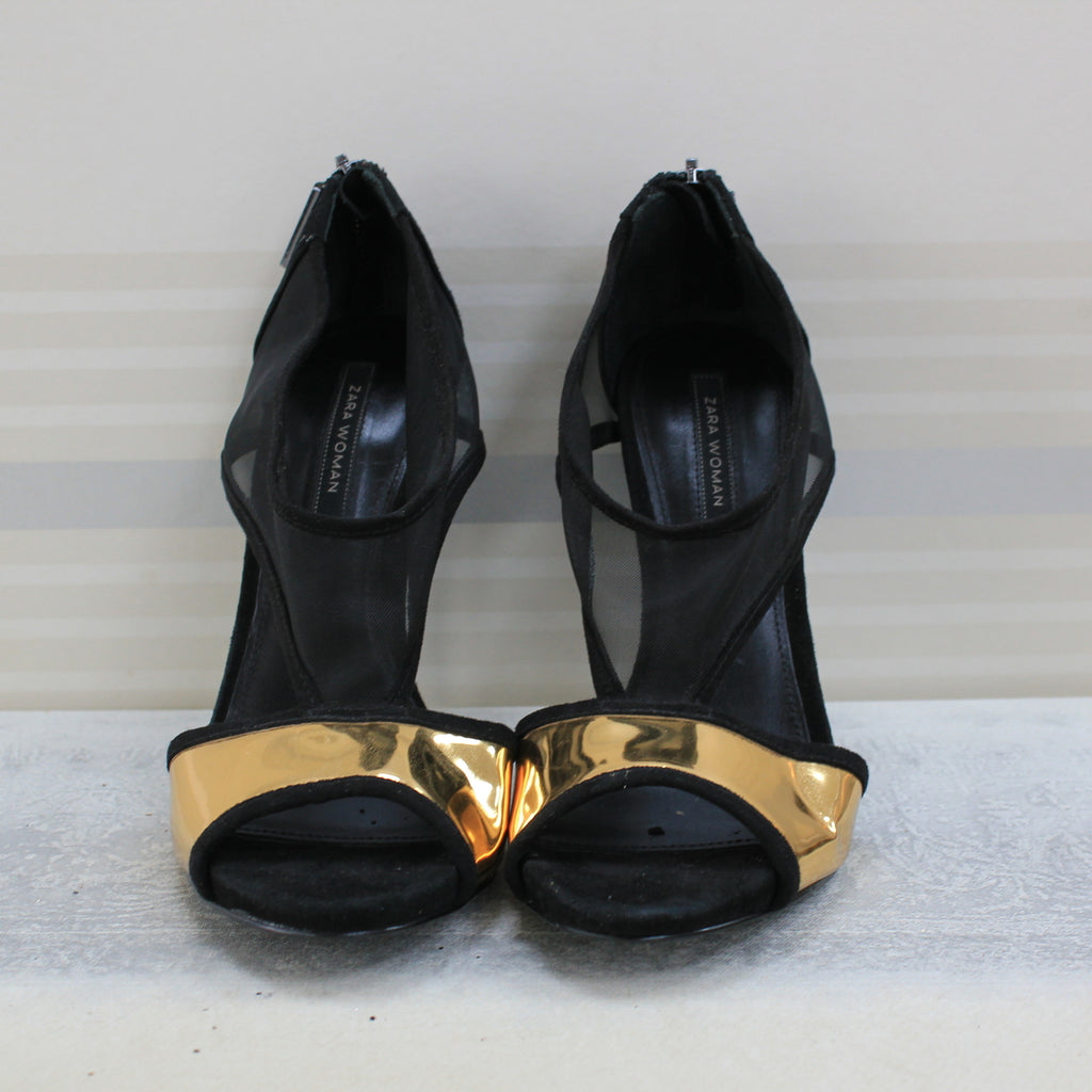 Black and Gold sandal heel