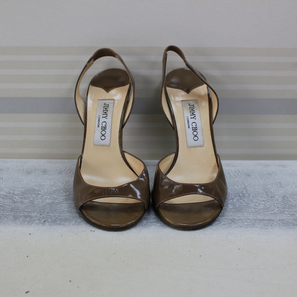 Brown sling back sandal heel
