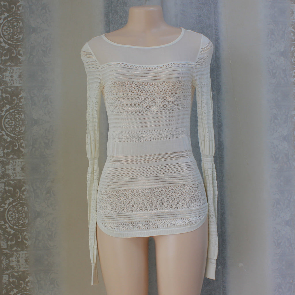 Cream white polyester top