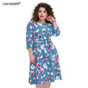 Ciaobella Plus Size Size Floral Print Autumn A-line Dress