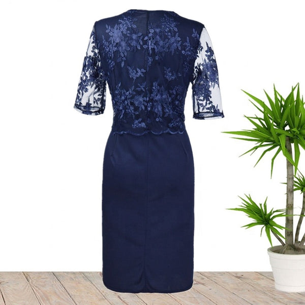 Ciaobella Plus Size Elegant Blue Lace Dress