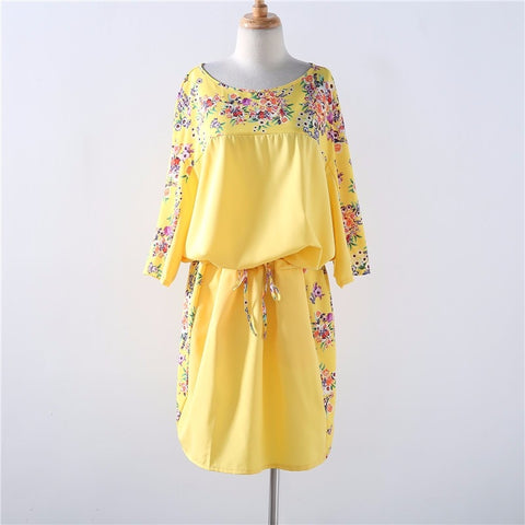 Plus Size Floral Print Straight Dress