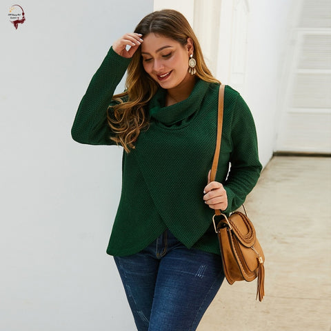 Plus Size Knitted Green Sweater Sale