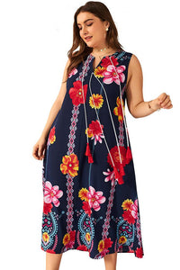 Ciaobella Plus Size Flower Printed A-Line Dress