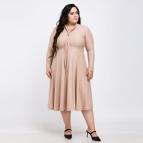 Plus Size Long Sleeve Mid-Calf Dress