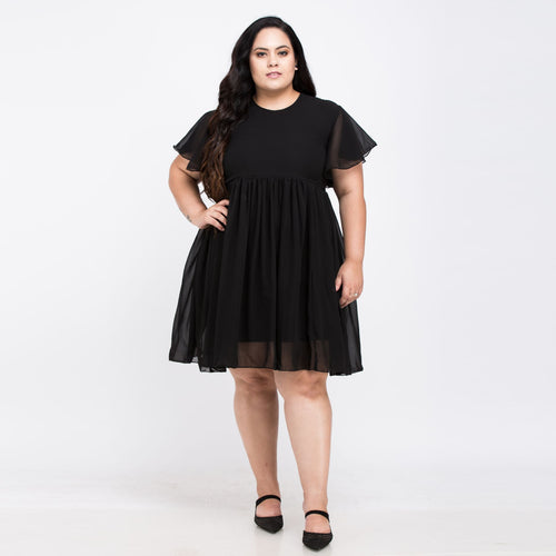 Plus size Chiffon Black Elegant dress