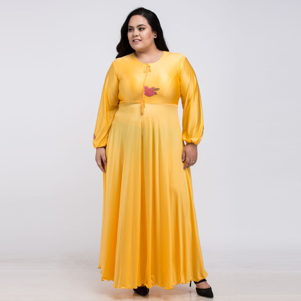 Plus size Indo western Yellow Gown