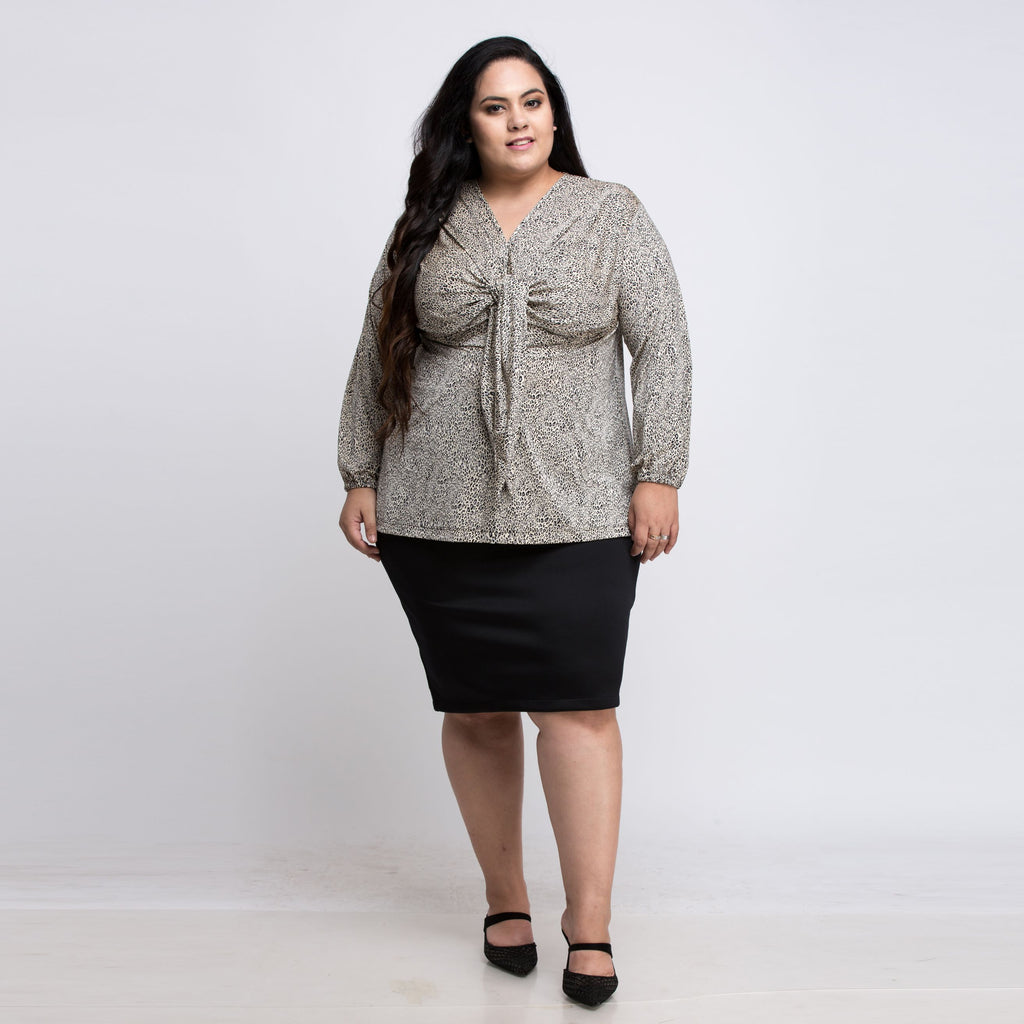 Plus Size  Leopard Print Grey Top