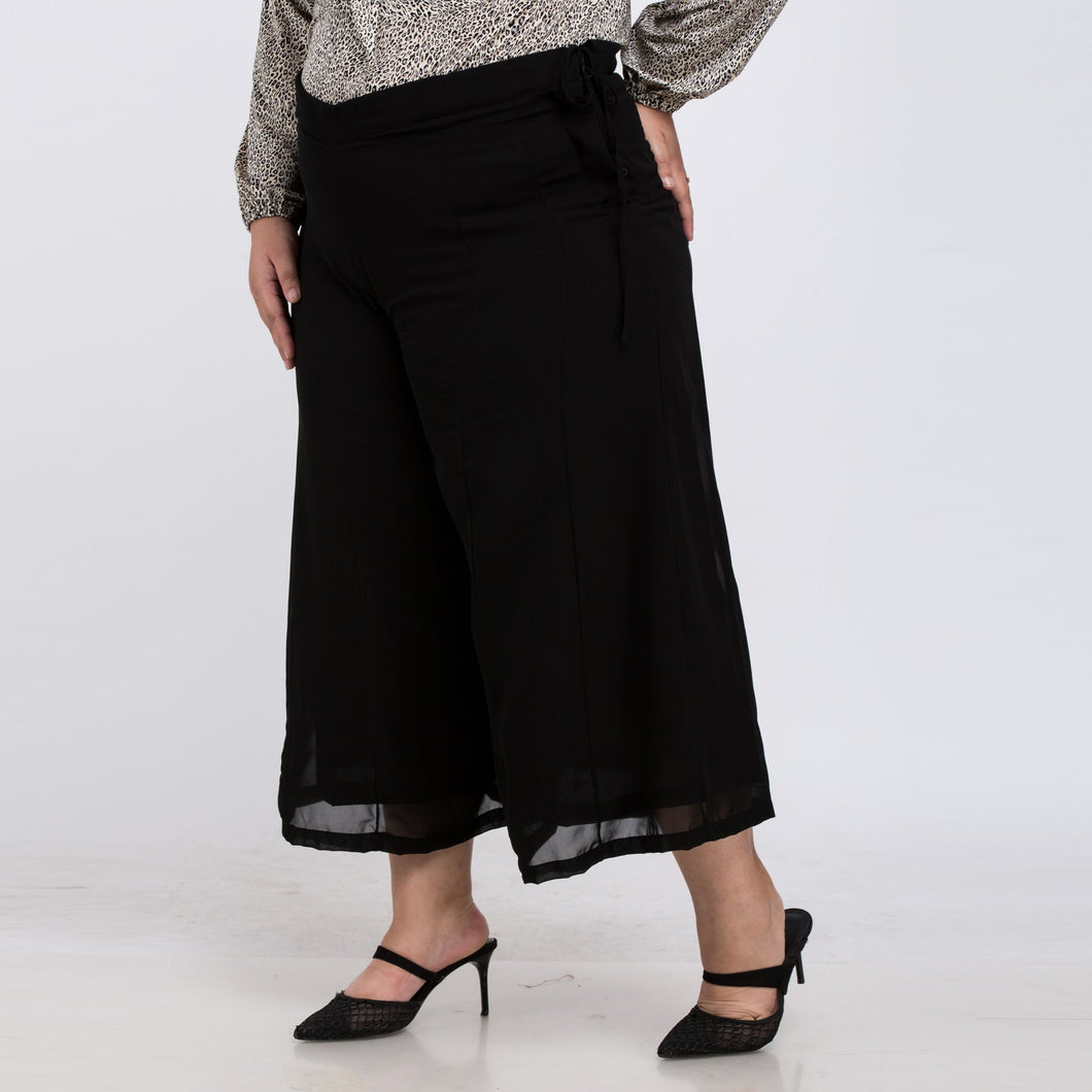 Plus Size Wide Chiffon Anklet Length Pant