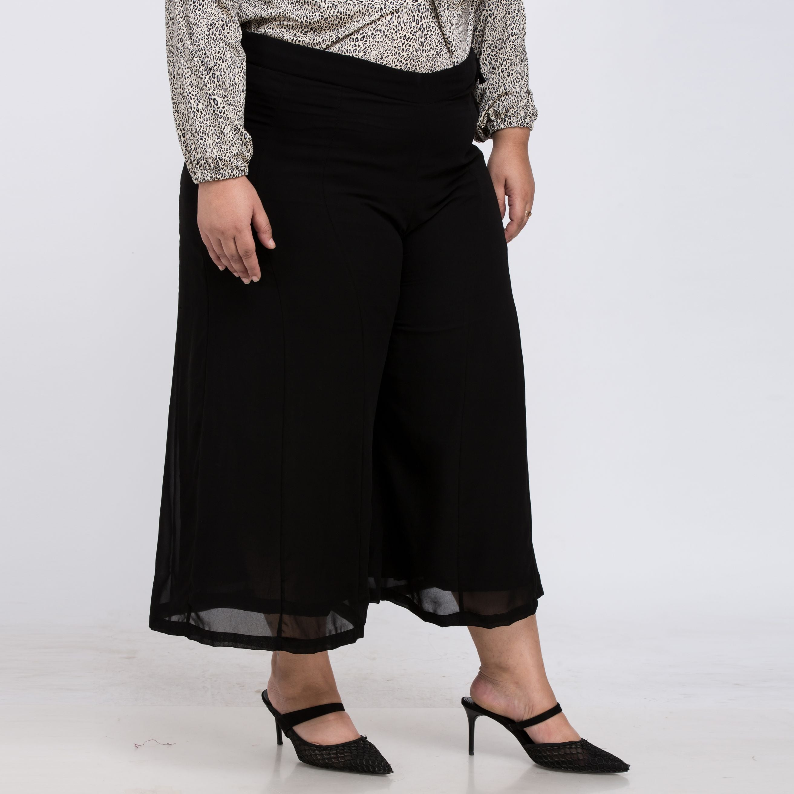 Plus Size Wide Loose Chiffon Anklet Length Pant