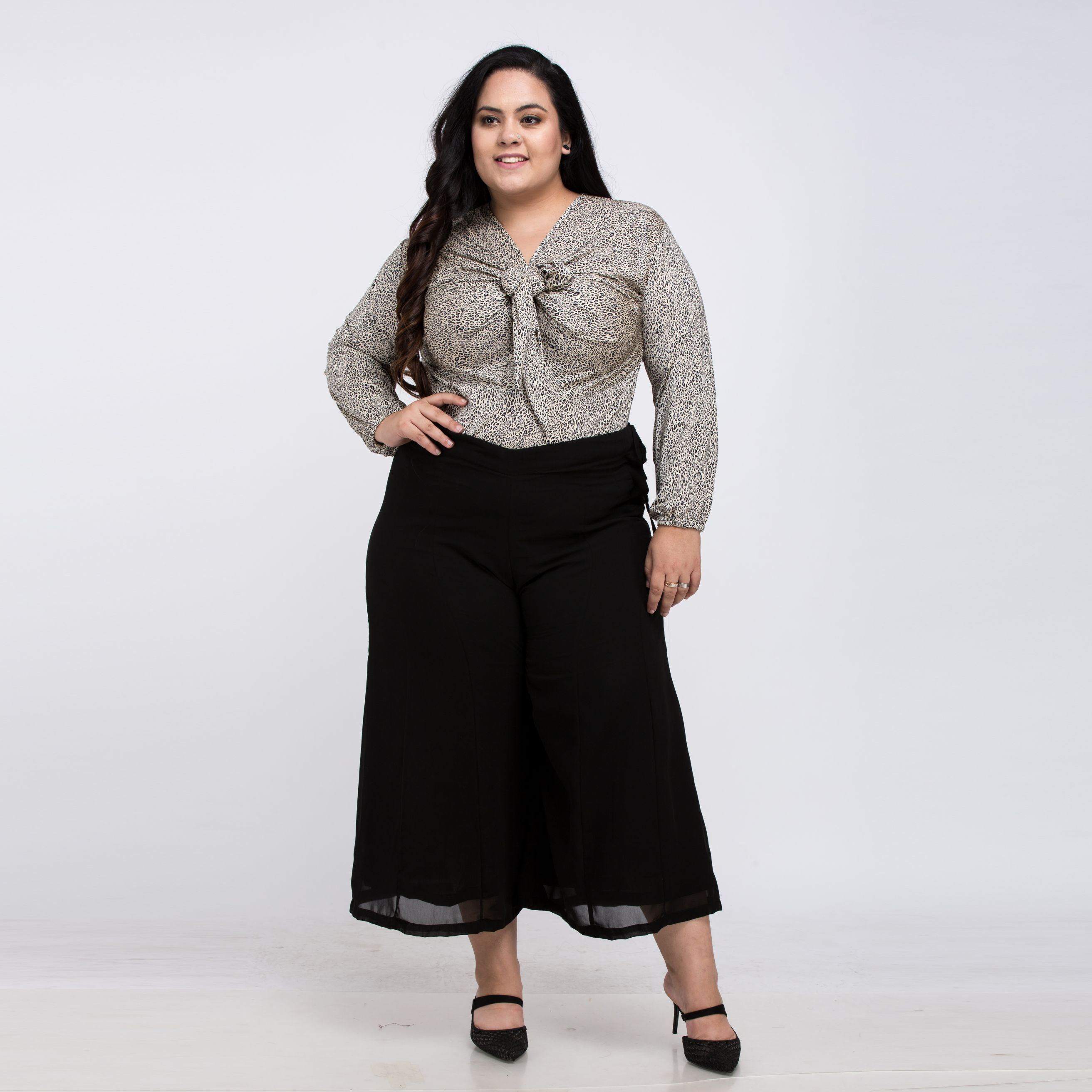 Plus Size Black Chiffon Plazzo