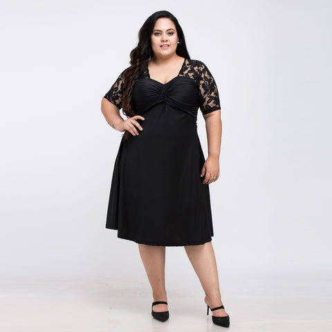 Plus Size Swing Lace Patchwork Casual Dress