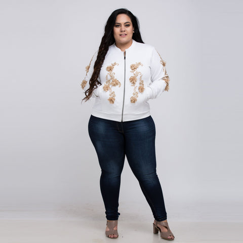 Plus Size Embroidered Patchwork Jacket