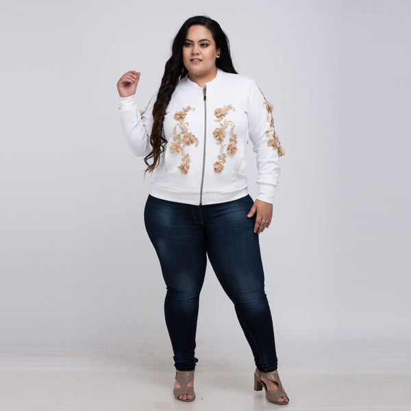 Plus Size White zipper By Jackyledlie