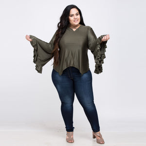 Plus Size Butterfly Sleeve Cross Belt T-Shirt
