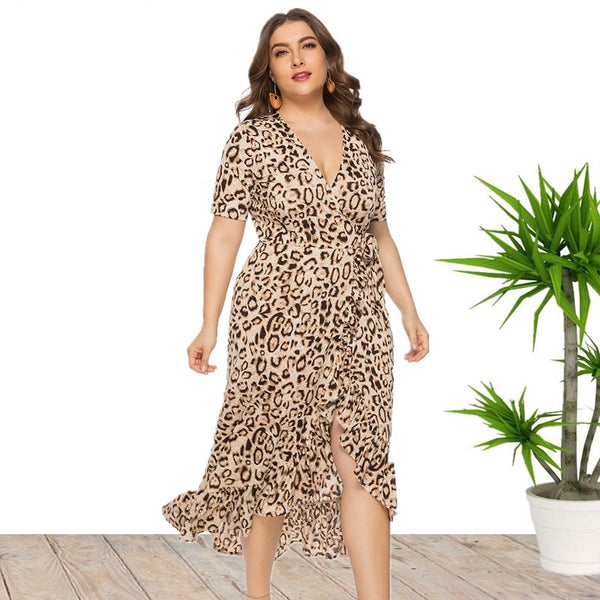 Ciaobella Elegant Plus Size Leopard Dress