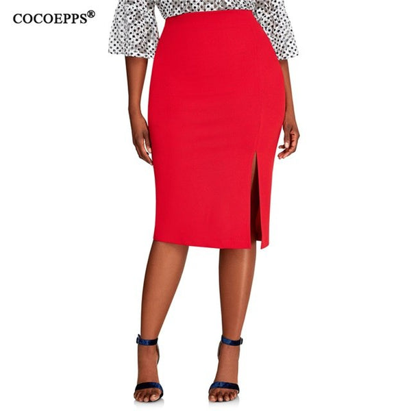 Side Cut Plus Size High Waist Pencil Skirt