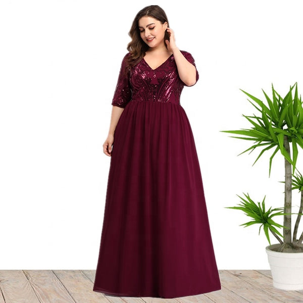Ciaobella Plus Size Sequin Long Evening Party Dress