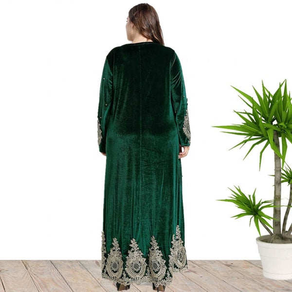 Ciaobella Plus Size Floral Embroidered Beaded Full Sleeve Velvet Dress
