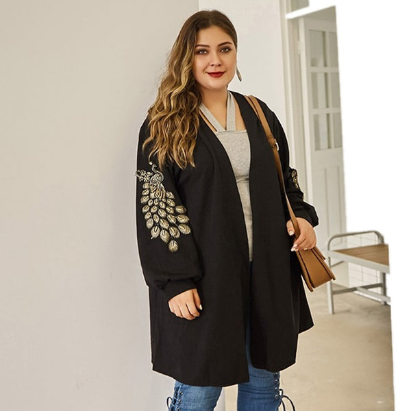 Plus Size Black Embroidered Warm shrug