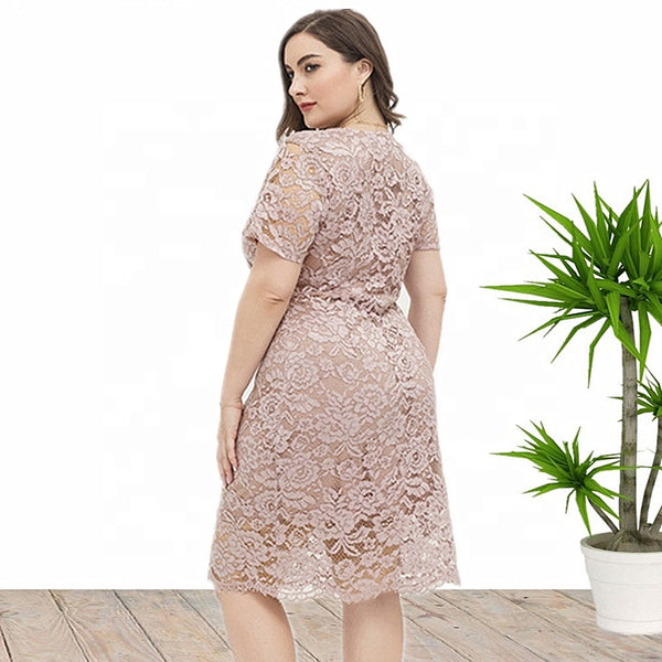 Plus Size V Neck Evening Party Midi Lace Dress