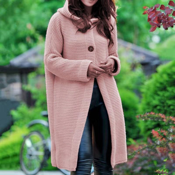 Plus Size Peach Pink Knitted long Coat