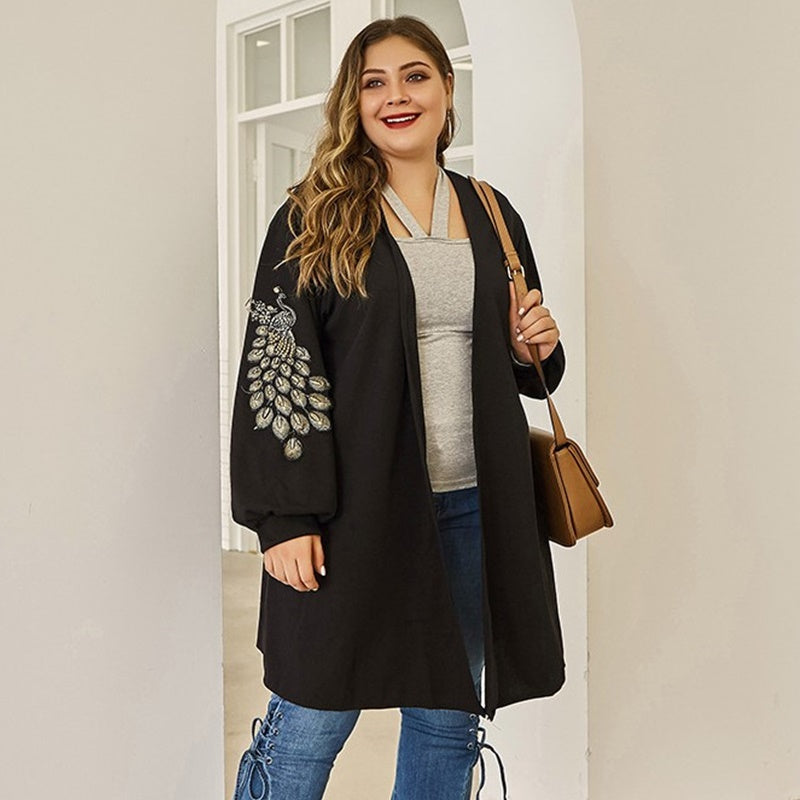 Plus Size Black Embroidered shrug