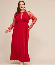 Load image into Gallery viewer, Plus Size Red Lace Evening Dress