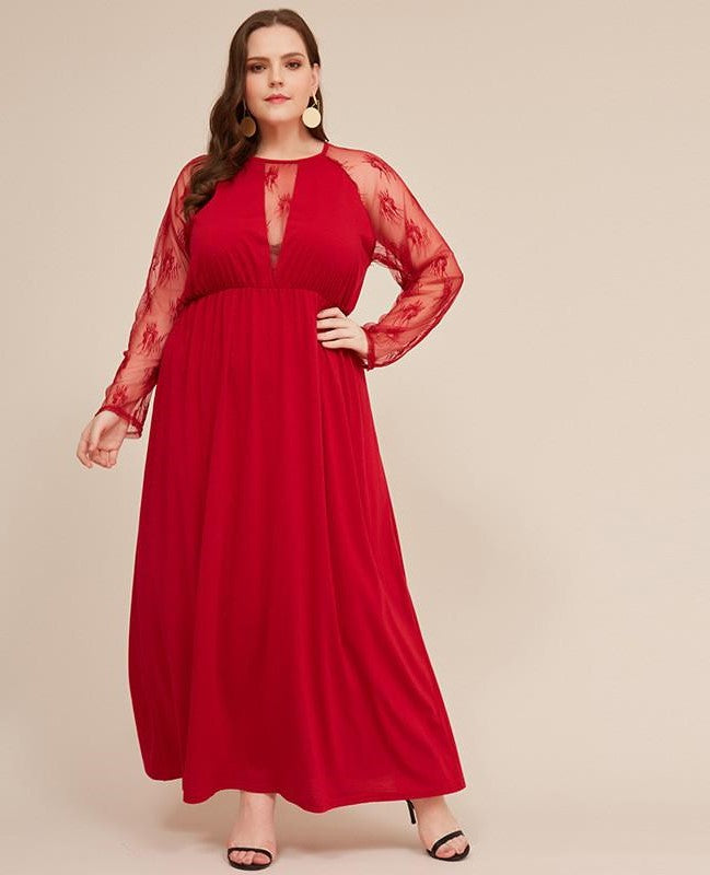 Plus Size Red Lace Evening Dress