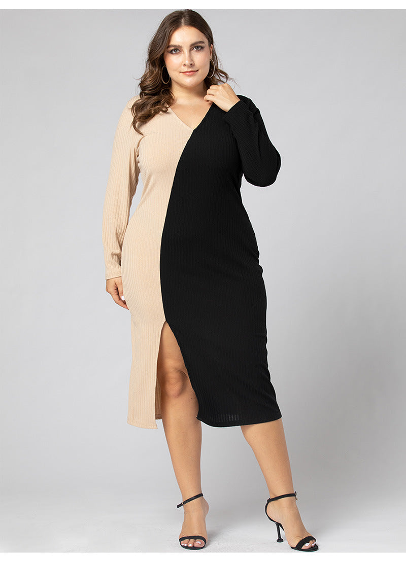 Plus Size V- Neck Slit Cut Dress