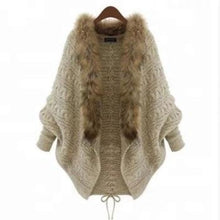 Load image into Gallery viewer, Fur Collar Knitting Women Cardigan