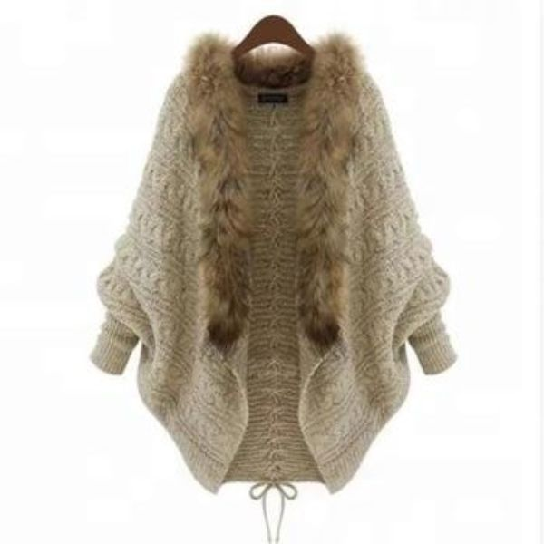 Fur Collar Knitting Women Cardigan