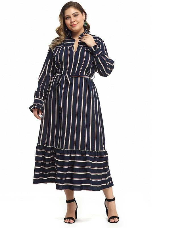 Plus Size Striped Patter Long Dress