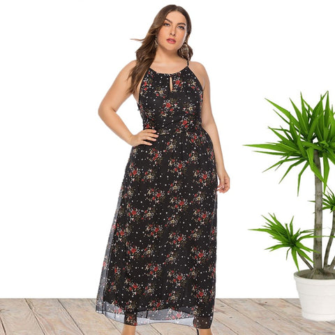 Ciaobella Sleeveless O-Neck Floral Beach Dress