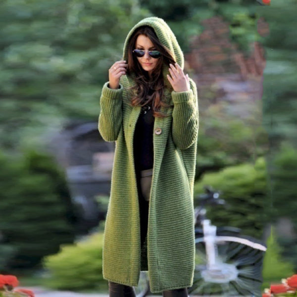 Plus Size Green Knitted long Coat