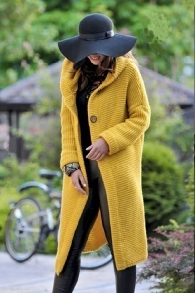 Plus Size Yellow Knitted long Coat