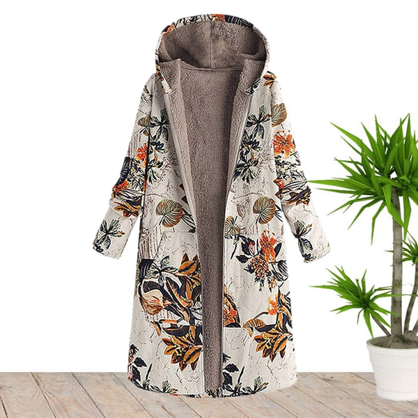 Hooded Long Cotton And Linen Jacket Sale