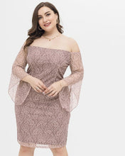 Load image into Gallery viewer, Plus Size Slash Neck Butterfly Sleeve Dress