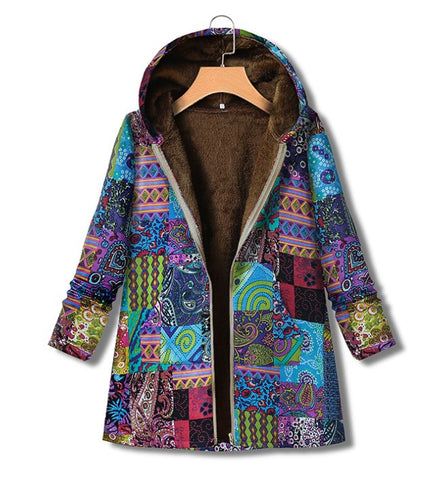 Plus Size Floral Printed Hooded Winter Coat Sale