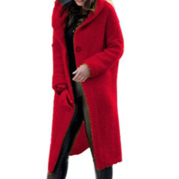 Plus Size Knitted Red long Coat