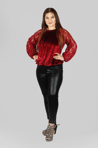 Plus Size Red Velvet Lace Top