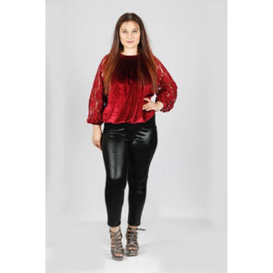 Open image in slideshow, Red Net Sleeve Velvet Balloon Top