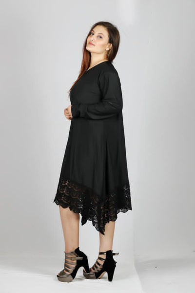 Plus Size Knee Length Laced Loose Dress