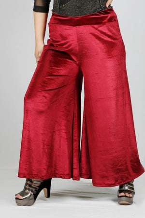 Open image in slideshow, Red Plus Size Velvet Palazzo