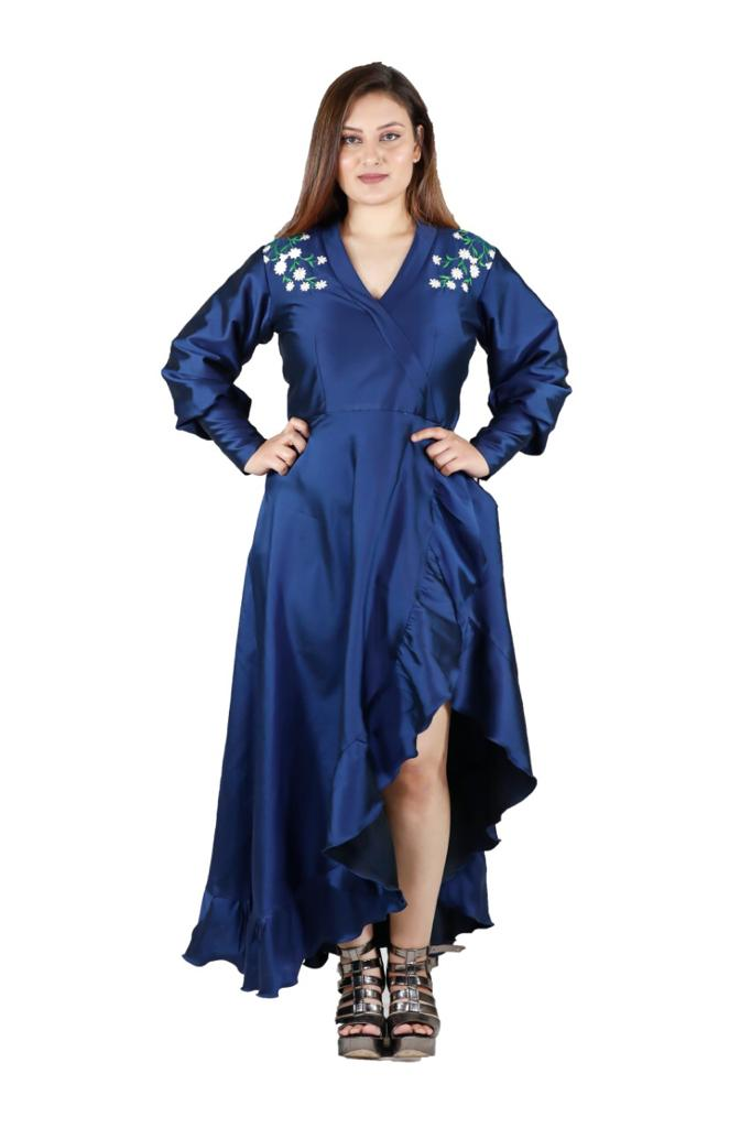 Plus Size Blue Tunic Detailed Dress