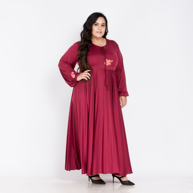 Plus Size Indo western Burgundy Gown