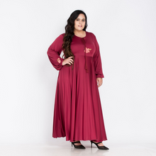 Load image into Gallery viewer, Plus Size Indo western Burgundy Gown