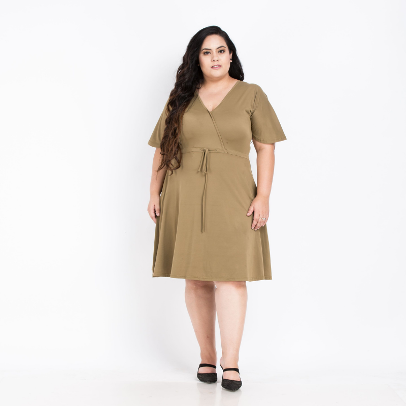 Army Green Elegant Middy Dress