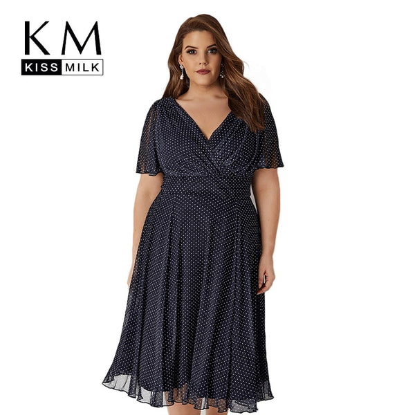 Plus Size Polka Dot Print  High Waist A Line Midi Dress