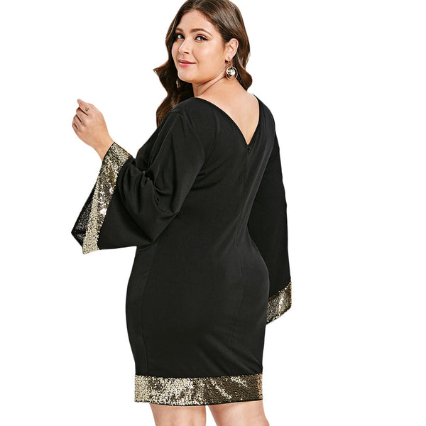 Ciaobella Plus Size Sequins Flare Sleeve Dress